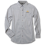 Ladies Grey Gingham 4-way Stretch Woven Chevrolet Shirt