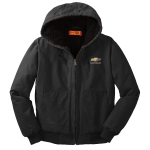 Black Washed Duck Cloth Chevrolet Work Hooded Jacket