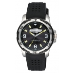 Chevrolet Black Face Watch w/Silver Dial Black Band