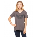 Ladies Chevrolet Racing Winged Piston Short Sleve V-Neck T-Shirt