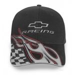 Black CR Hat with Silver Flames & Checkered Flag