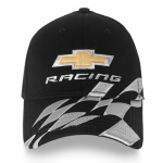 Chevy Racing Black Fitted Hat with Checkered Flag