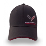 Black Corvette Racing Fitted Hat with Red Trim on Bill