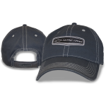 Slate Blue Cap w/ Frayed Bill Chevy Racing Weld. Velcro