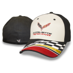 Black/ White Corvette Racing Hat w/ Checkered Flag Bill. Fitted