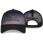 Corvette Racing Black Perfom Fabric Cap. Black Mesh Back