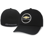 Gold Bowtie Racing Circle Black Fitted Cap
