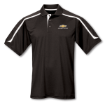 Black w/ White Contrast Moisture Wicking Polo w/ Gold Bowtie Racing