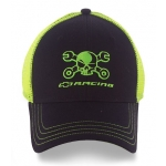 Mr. Crosswrench Black w/ neon green mesh back snap Hat
