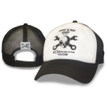 Wht Foam Blk Mesh Crosswrench Snapback Hat. Engine and Rod Shop