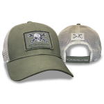 Olive Cap w/ White Mesh Mr. Crosswrench/ Racing Patch. Velcro