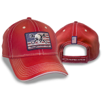 Red Cap w/ Mr. Crosswrench American Flag Patch. Velcro