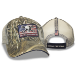 Camo Cap w/ Mesh Back. Mr. Crosswrench American Flag Patch. Velcro