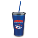 Dealer Personalized Blue 16 oz Stainless Steel Double Wall Tumbler w/ Straw